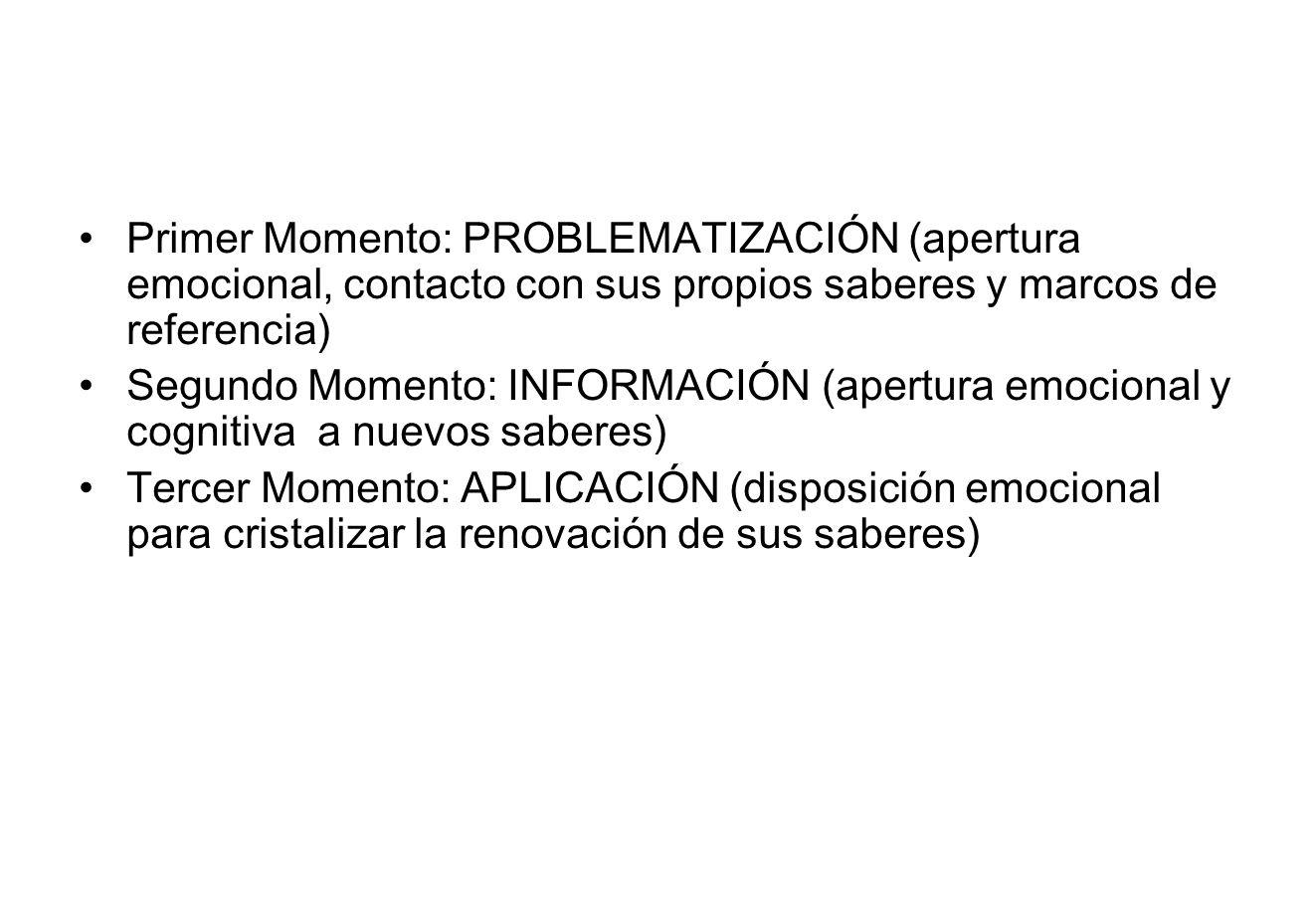 Primer Momento: PROBLEMATIZACIÓN (apertura emocional, contacto con sus propios saberes y marcos de referencia) Segundo Momento: INFORMACIÓN (apertura