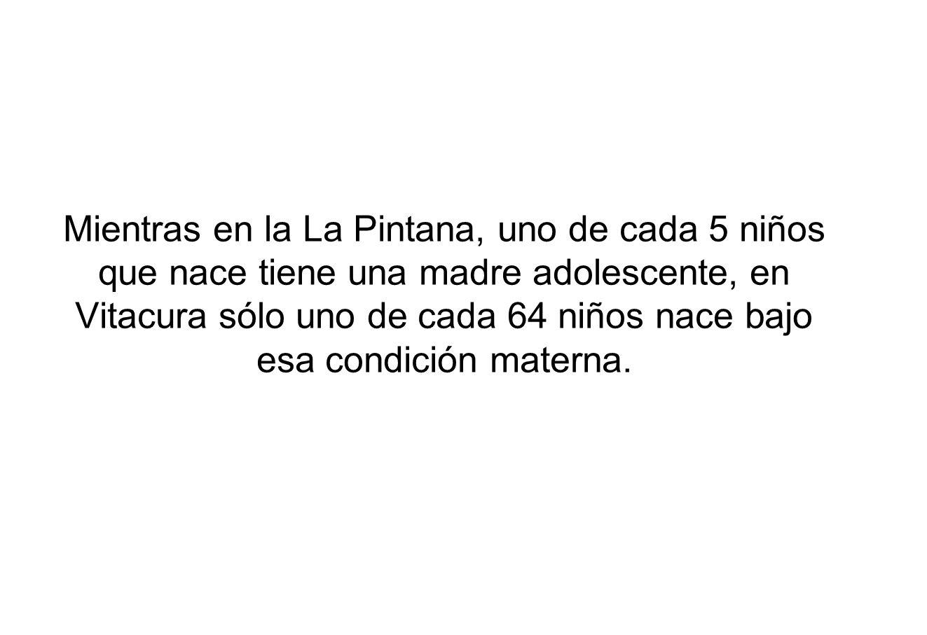 Mientras en la La Pintana, uno de cada 5 niños que nace tiene una madre adolescente, en Vitacura sólo uno de cada 64 niños nace bajo esa condición mat