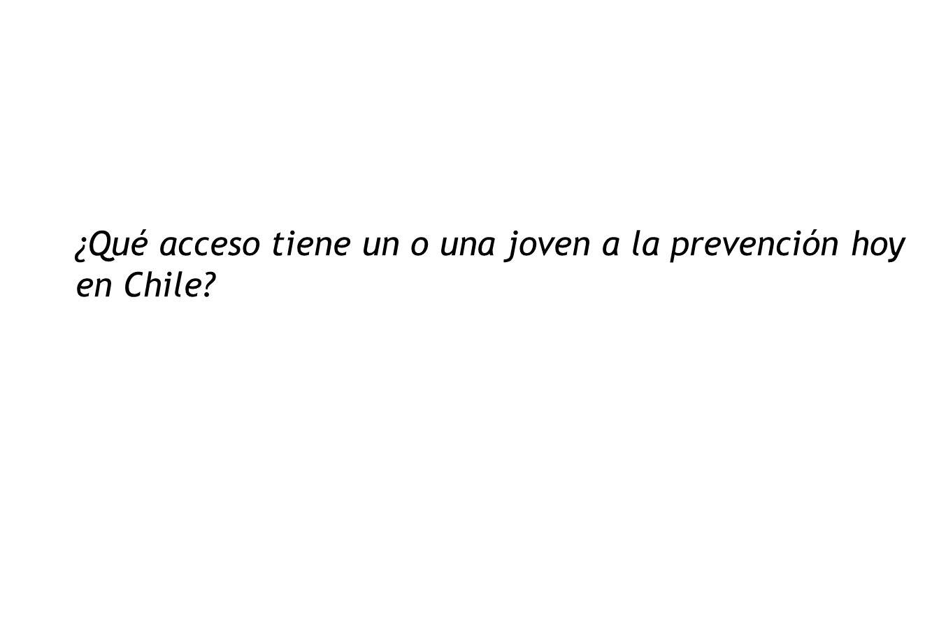 ¿Qué acceso tiene un o una joven a la prevención hoy en Chile?