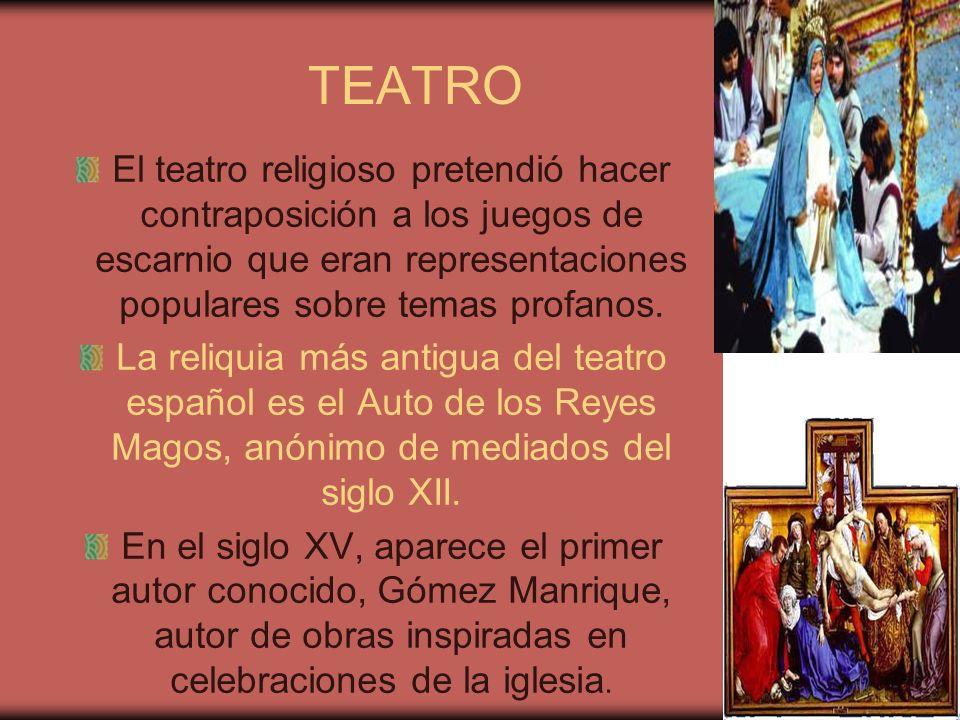 TEATRO El teatro religioso pretendió hacer contraposición a los juegos de escarnio que eran representaciones populares sobre temas profanos. La reliqu