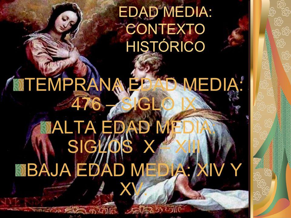 EDAD MEDIA: CONTEXTO HISTÓRICO TEMPRANA EDAD MEDIA: 476 – SIGLO IX ALTA EDAD MEDIA: SIGLOS X – XIII BAJA EDAD MEDIA: XIV Y XV.