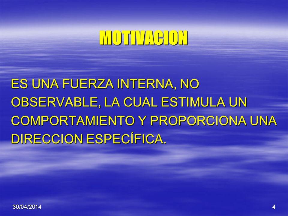 30/04/20144 MOTIVACION ES UNA FUERZA INTERNA, NO OBSERVABLE, LA CUAL ESTIMULA UN COMPORTAMIENTO Y PROPORCIONA UNA DIRECCION ESPECÍFICA.