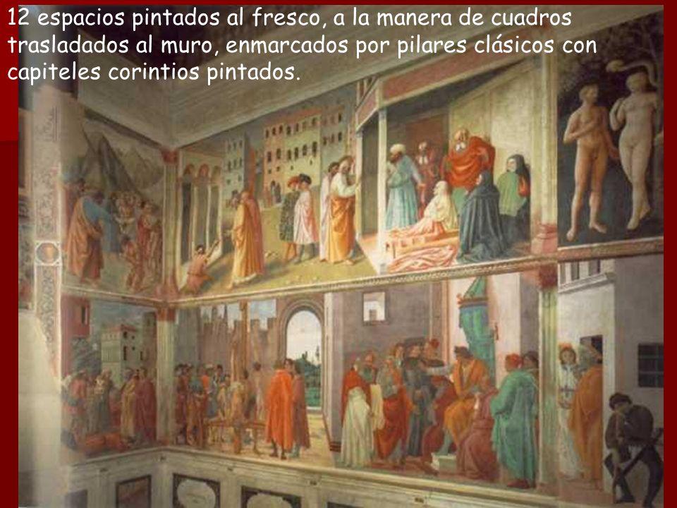 12 espacios pintados al fresco, a la manera de cuadros trasladados al muro, enmarcados por pilares clásicos con capiteles corintios pintados.