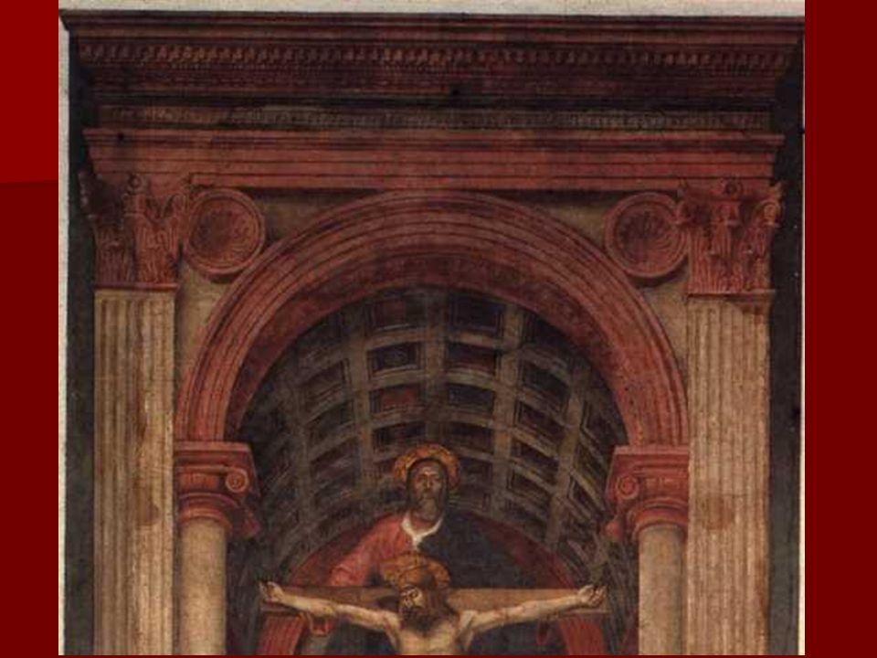 En esta obra, Masaccio nos muestra una bóveda de cañón con casetones, representada con el nuevo sistema basado en la perspectiva de Brunelleschi, quie