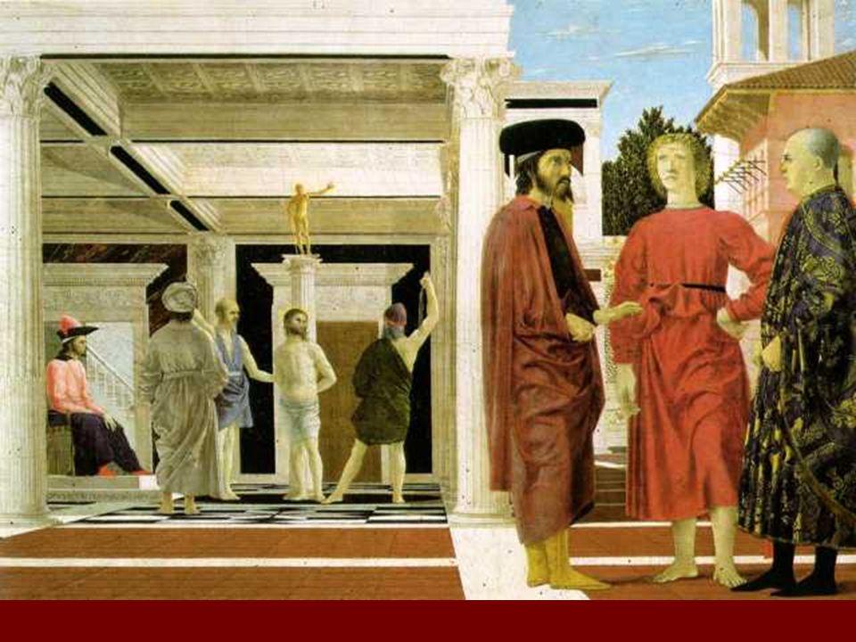 Utilización de la perspectiva con rigor matemático, aunque Piero no suele invitar al espectador a percibir ficticios mundos más allá de la superficie