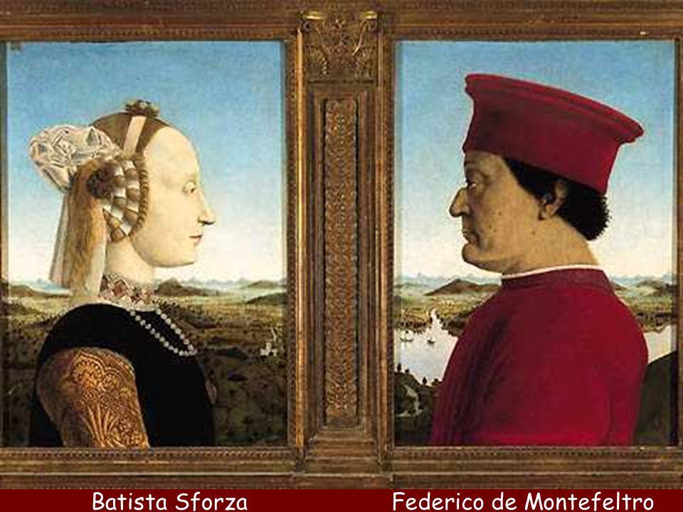 Federico de MontefeltroBatista Sforza Piero es también el retratista cortesano de los príncipes y tiranos del Quattrocento. En Rímini retrata a Segism