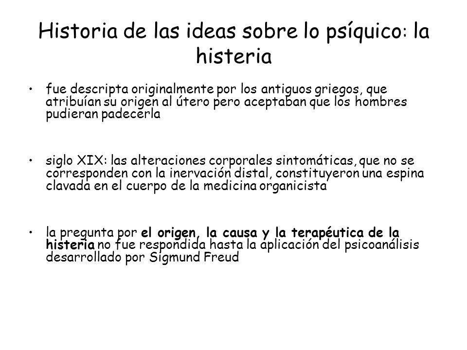 Historia de las ideas sobre lo psíquico : la histeria fue descripta originalmente por los antiguos griegos, que atribuían su origen al útero pero acep