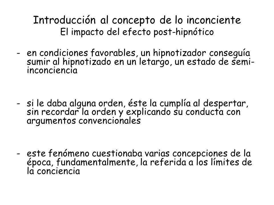 Introducción al concepto de lo inconciente El impacto del efecto post-hipnótico -en condiciones favorables, un hipnotizador conseguía sumir al hipnoti