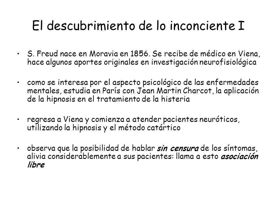 El descubrimiento de lo inconciente I S. Freud nace en Moravia en 1856. Se recibe de médico en Viena, hace algunos aportes originales en investigación