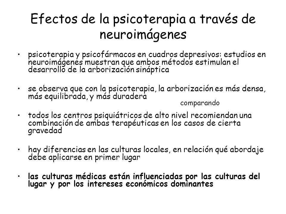 Efectos de la psicoterapia a través de neuroimágenes psicoterapia y psicofármacos en cuadros depresivos: estudios en neuroimágenes muestran que ambos
