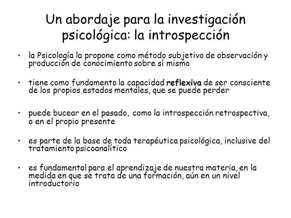 Un abordaje para la investigación psicológica: la introspección la Psicología la propone como método subjetivo de observación y producción de conocimi