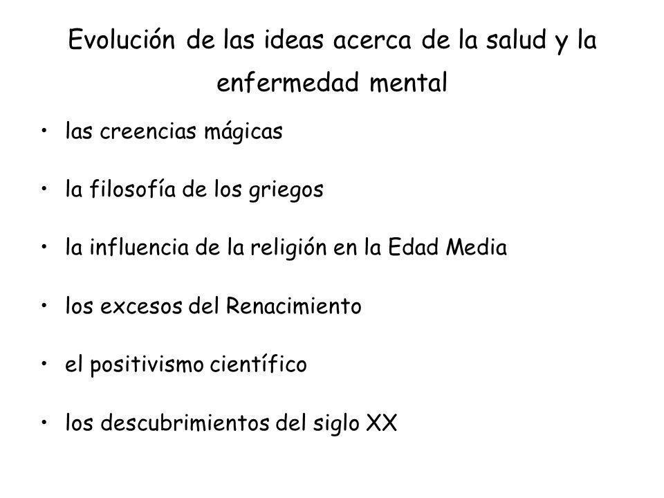 Evolución de las ideas acerca de la salud y la enfermedad mental las creencias mágicas la filosofía de los griegos la influencia de la religión en la