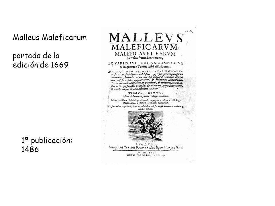 1ª publicación: 1486 Malleus Maleficarum portada de la edición de 1669
