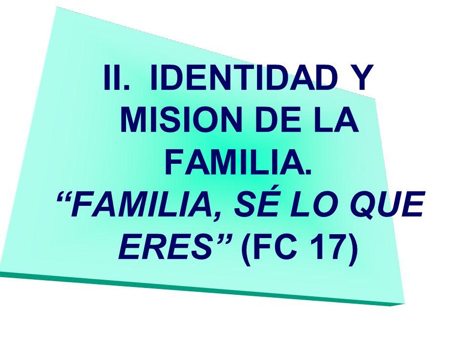 II.IDENTIDAD Y MISION DE LA FAMILIA. FAMILIA, SÉ LO QUE ERES (FC 17)