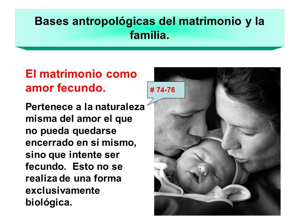 Bases antropológicas del matrimonio y la familia. El matrimonio como amor fecundo. Pertenece a la naturaleza misma del amor el que no pueda quedarse e