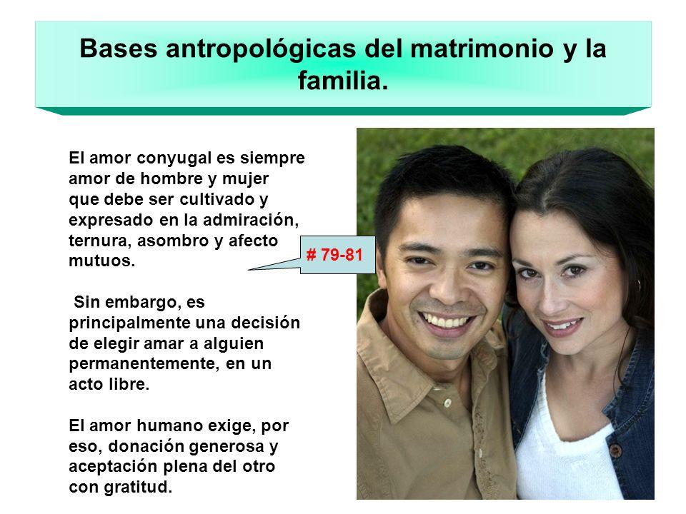 Bases antropológicas del matrimonio y la familia. El amor conyugal es siempre amor de hombre y mujer que debe ser cultivado y expresado en la admiraci