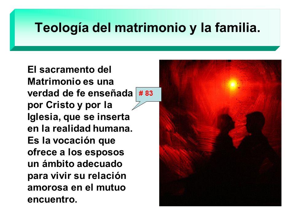 Teología del matrimonio y la familia. El sacramento del Matrimonio es una verdad de fe enseñada por Cristo y por la Iglesia, que se inserta en la real