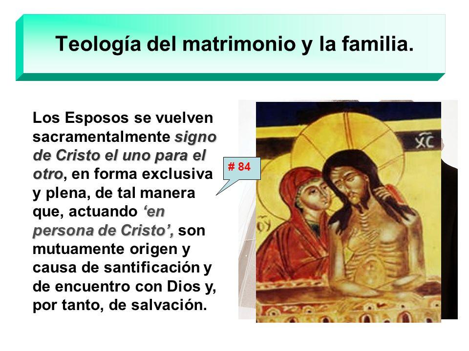 Teología del matrimonio y la familia. signo de Cristo el uno para el otro en persona de Cristo, Los Esposos se vuelven sacramentalmente signo de Crist