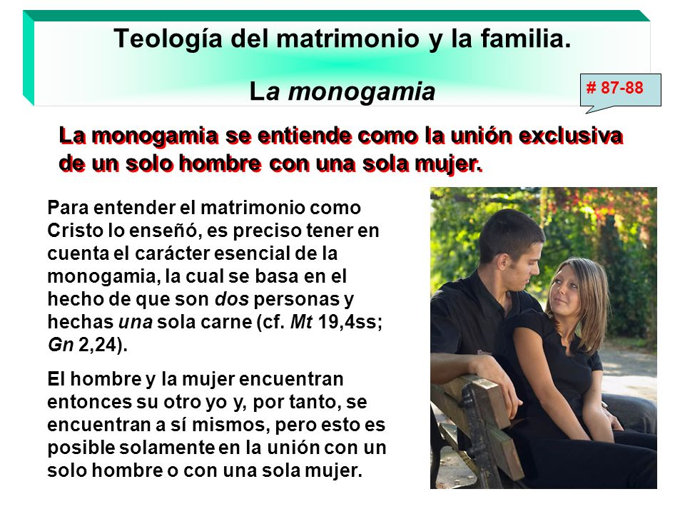Teología del matrimonio y la familia. La monogamia La monogamia se entiende como la unión exclusiva de un solo hombre con una sola mujer. La monogamia