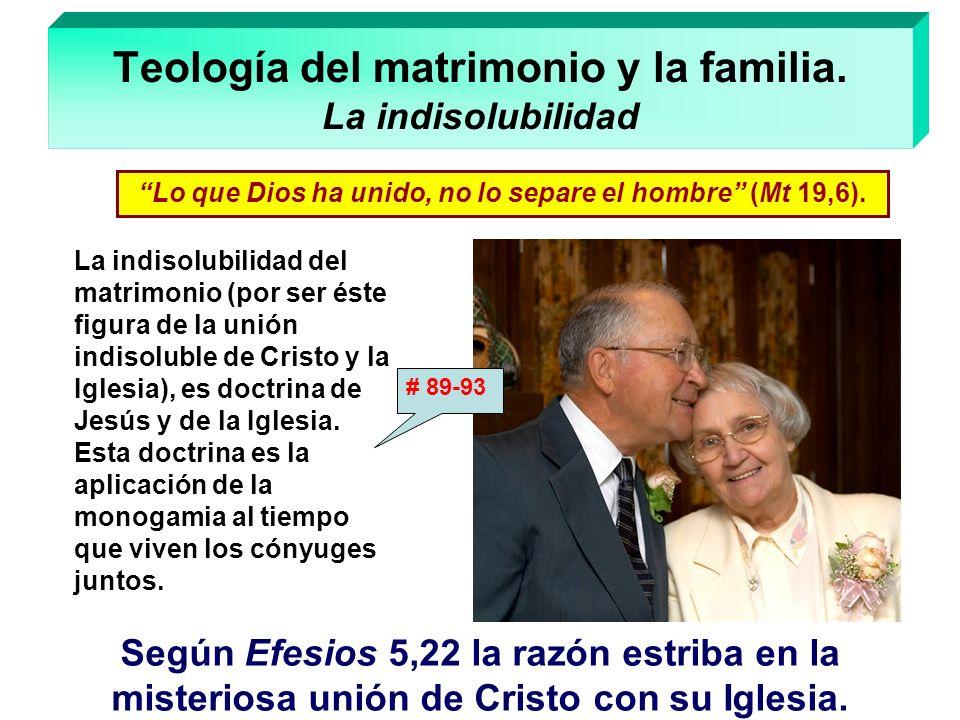Teología del matrimonio y la familia. La indisolubilidad La indisolubilidad del matrimonio (por ser éste figura de la unión indisoluble de Cristo y la