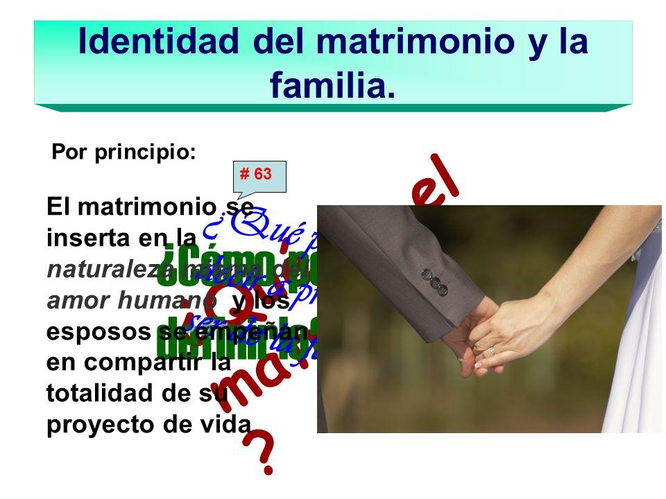 Identidad del matrimonio y la familia. ¿Qué es el matrimonio ? ¿Cómo podemos definirlo? ser ¿Qué podemos decir a propósito del ser de la familia? El m