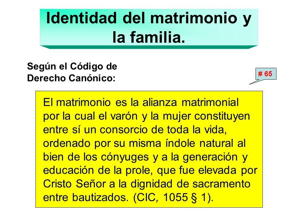 Identidad del matrimonio y la familia. Según el Código de Derecho Canónico: El matrimonio es la alianza matrimonial por la cual el varón y la mujer co
