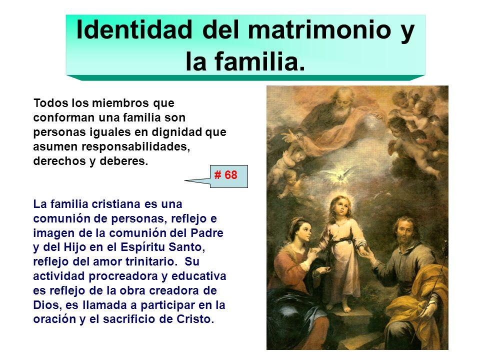 Identidad del matrimonio y la familia. Todos los miembros que conforman una familia son personas iguales en dignidad que asumen responsabilidades, der