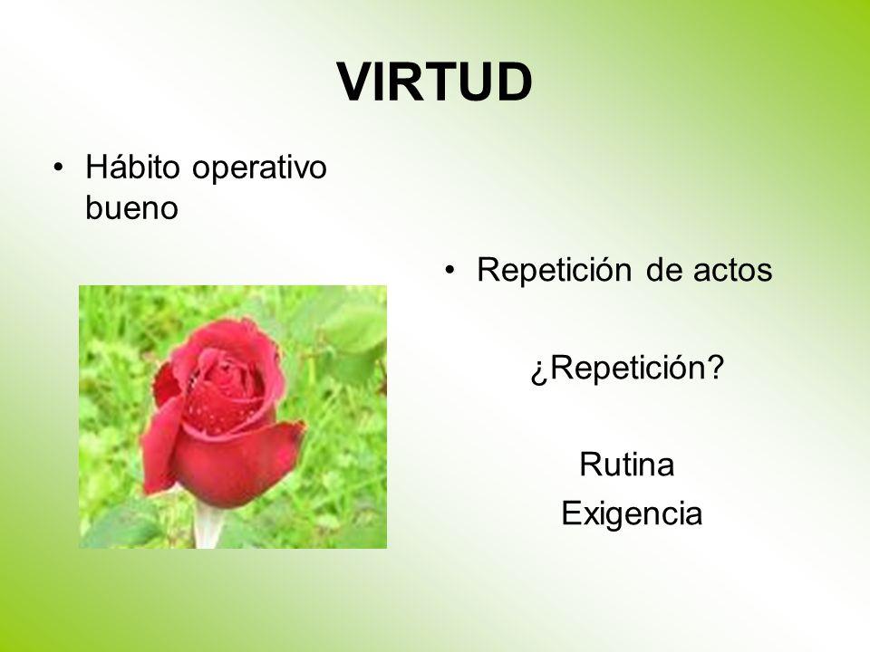 VIRTUD Hábito operativo bueno Repetición de actos ¿Repetición? Rutina Exigencia