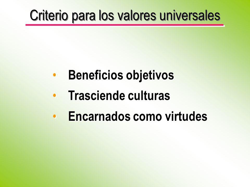 Beneficios objetivos Trasciende culturas Encarnados como virtudes Beneficios objetivos Trasciende culturas Encarnados como virtudes Criterio para los valores universales