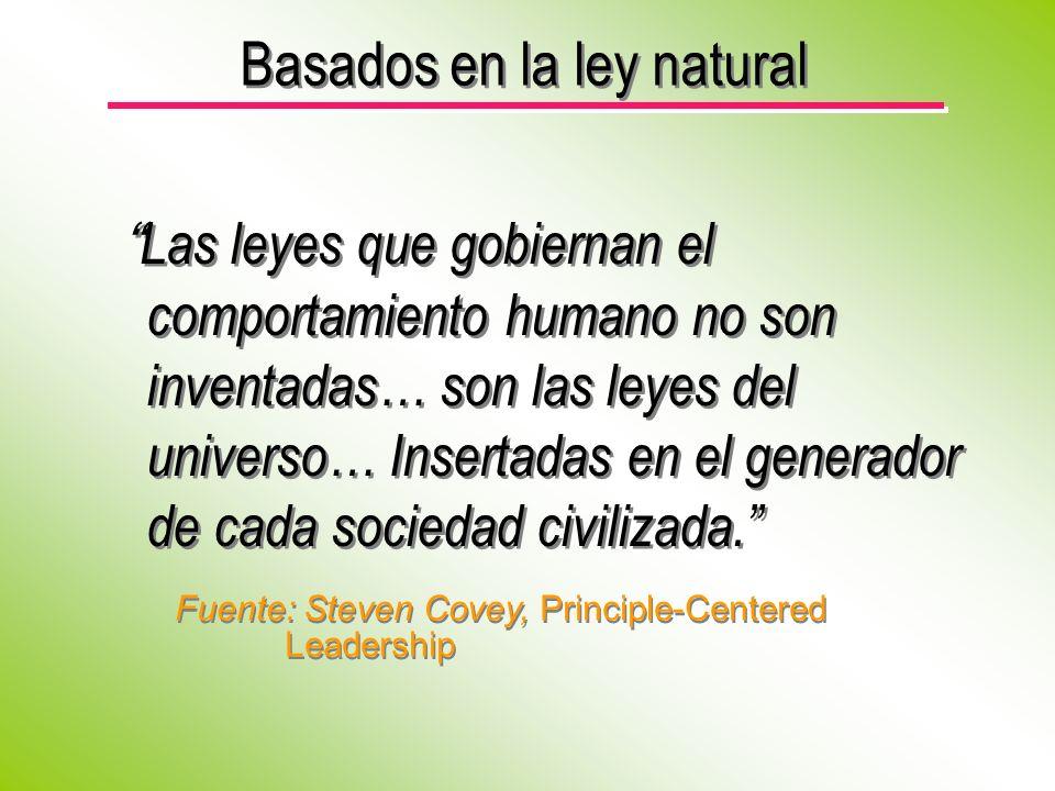 Las leyes que gobiernan el comportamiento humano no son inventadas… son las leyes del universo… Insertadas en el generador de cada sociedad civilizada.