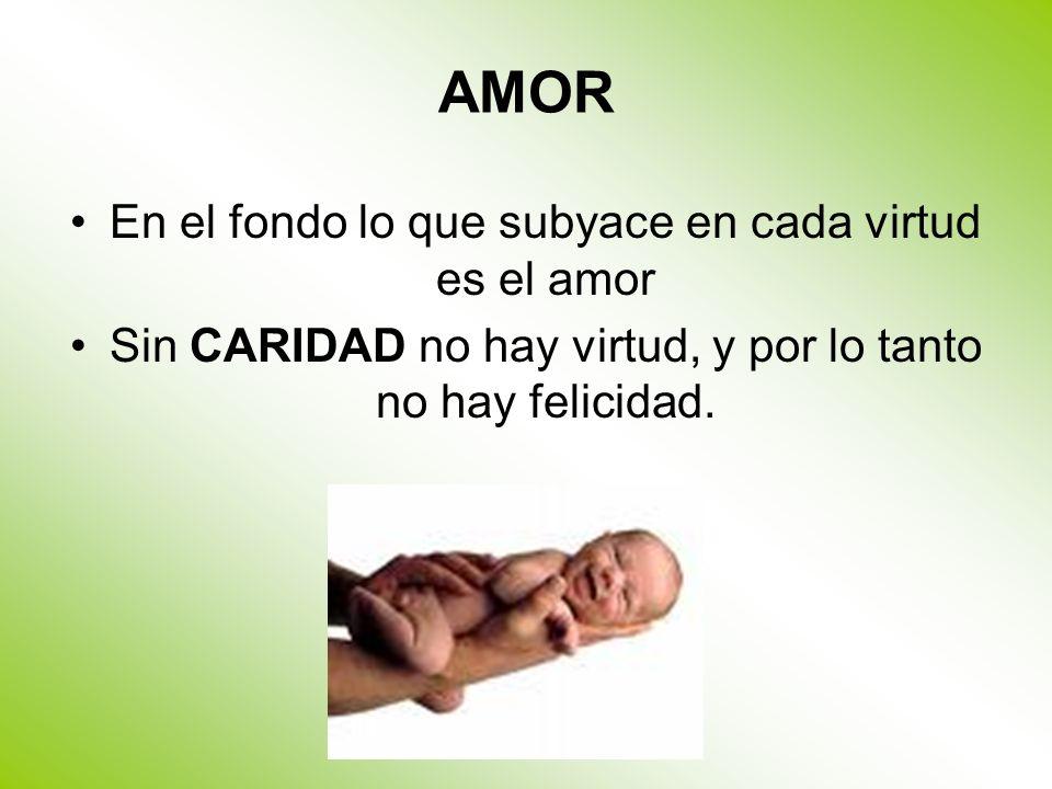 AMOR En el fondo lo que subyace en cada virtud es el amor Sin CARIDAD no hay virtud, y por lo tanto no hay felicidad.
