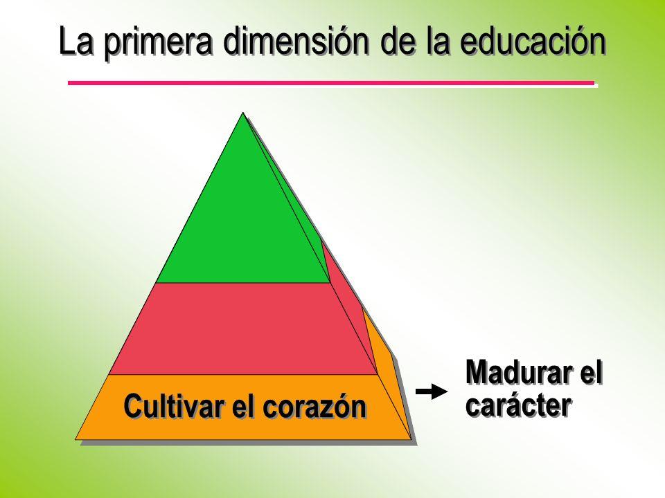 La primera dimensión de la educación Madurar el carácter Cultivar el corazón