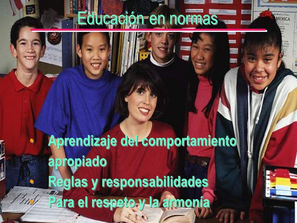 Educación en normas Aprendizaje del comportamiento apropiado Reglas y responsabilidades Para el respeto y la armonía Aprendizaje del comportamiento apropiado Reglas y responsabilidades Para el respeto y la armonía