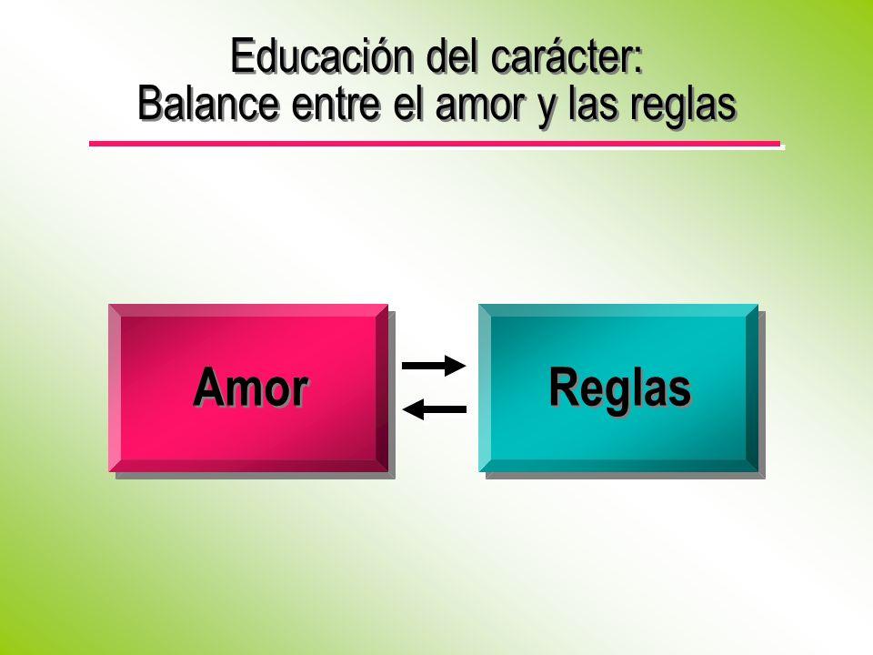 Educación del carácter: Balance entre el amor y las reglas Amor Reglas