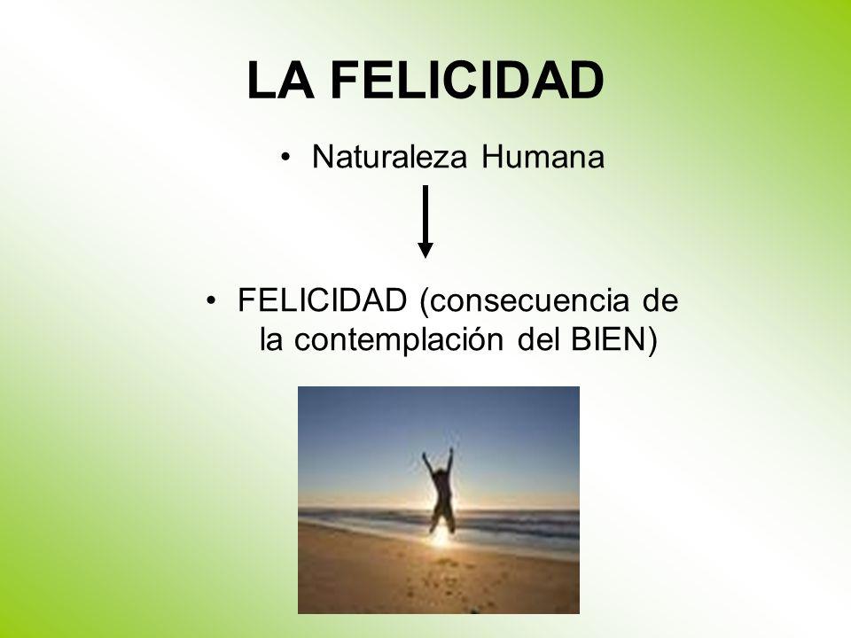 LA FELICIDAD Naturaleza Humana FELICIDAD (consecuencia de la contemplación del BIEN)