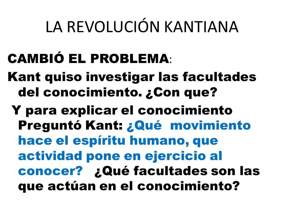 LA REVOLUCIÓN KANTIANA CAMBIÓ EL PROBLEMA : Kant quiso investigar las facultades del conocimiento. ¿Con que? Y para explicar el conocimiento Preguntó