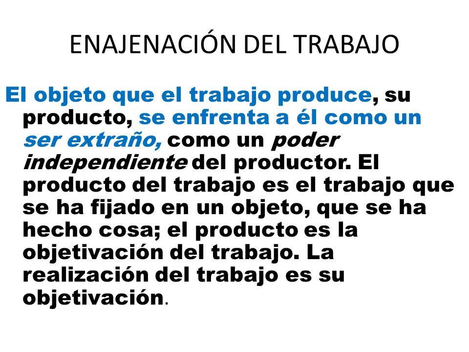 ENAJENACIÓN DEL TRABAJO El objeto que el trabajo produce, su producto, se enfrenta a él como un ser extraño, como un poder independiente del productor