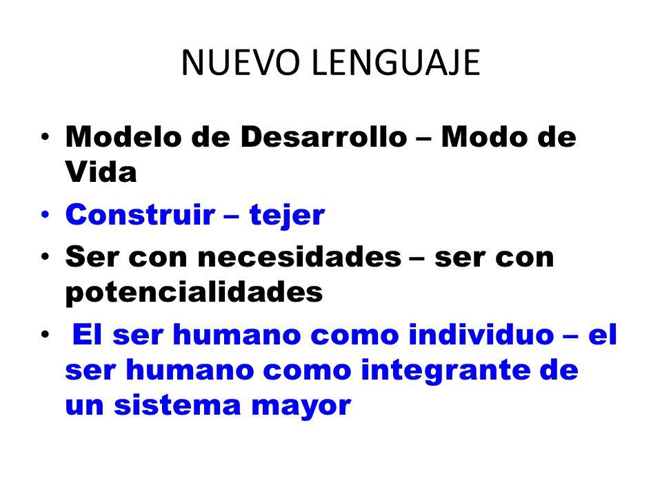 NUEVO LENGUAJE Modelo de Desarrollo – Modo de Vida Construir – tejer Ser con necesidades – ser con potencialidades El ser humano como individuo – el s