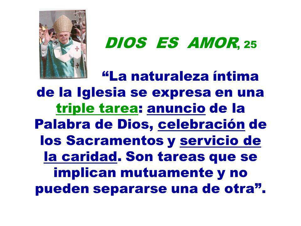 DIOS ES AMOR, 25 La naturaleza íntima de la Iglesia se expresa en una triple tarea: anuncio de la Palabra de Dios, celebración de los Sacramentos y se