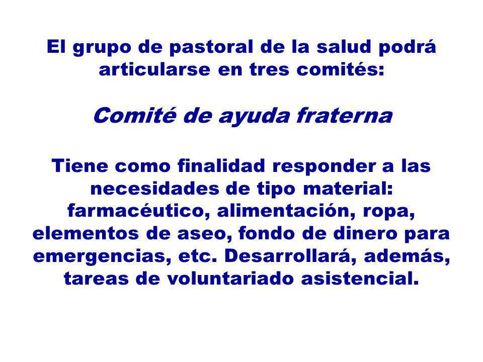 El grupo de pastoral de la salud podrá articularse en tres comités: Comité de ayuda fraterna Tiene como finalidad responder a las necesidades de tipo