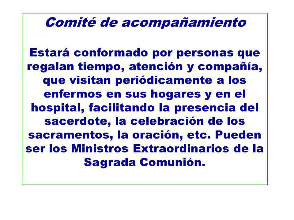 Comité de acompañamiento Estará conformado por personas que regalan tiempo, atención y compañía, que visitan periódicamente a los enfermos en sus hoga