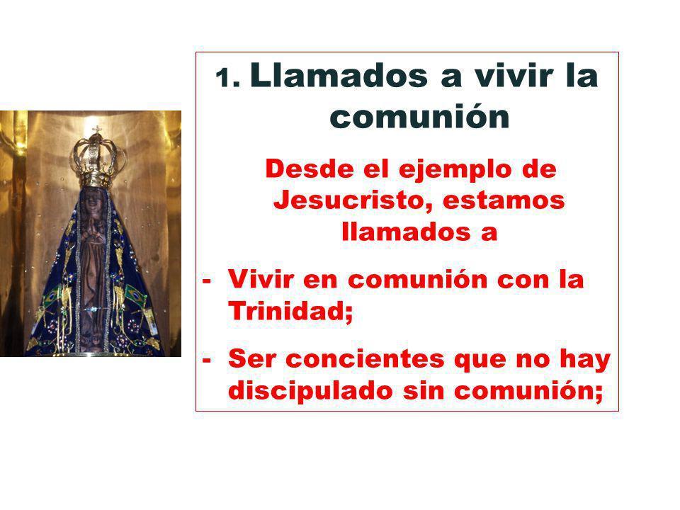 1. Llamados a vivir la comunión Desde el ejemplo de Jesucristo, estamos llamados a -Vivir en comunión con la Trinidad; -Ser concientes que no hay disc