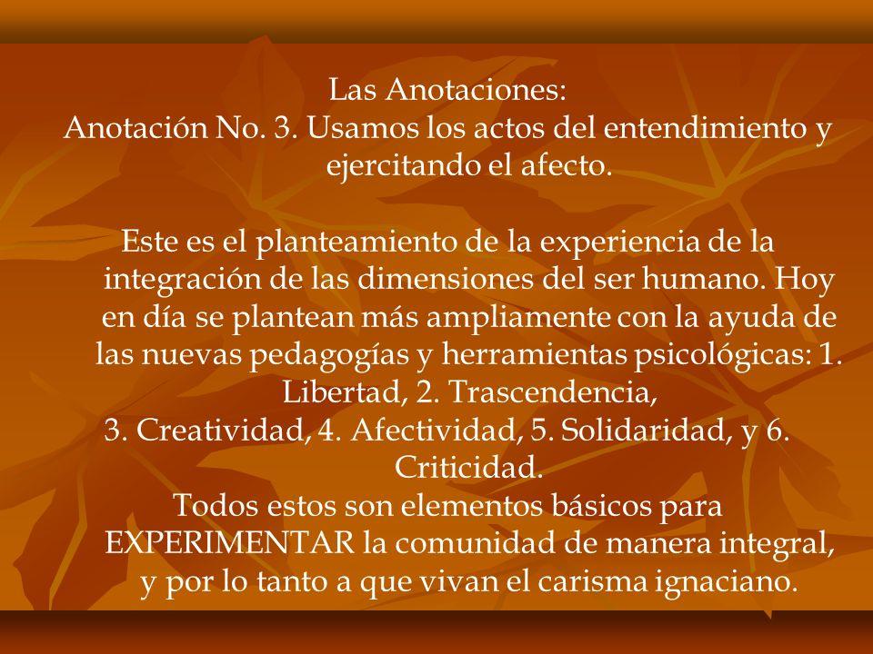 Las Anotaciones: Anotación No. 3. Usamos los actos del entendimiento y ejercitando el afecto.