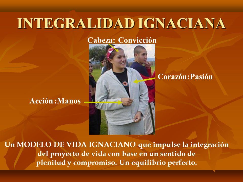 INTEGRALIDAD IGNACIANA Cabeza:Convicción :ManosAcción Corazón:Pasión Un MODELO DE VIDA IGNACIANO que impulse la integración del proyecto de vida con base en un sentido de plenitud y compromiso.