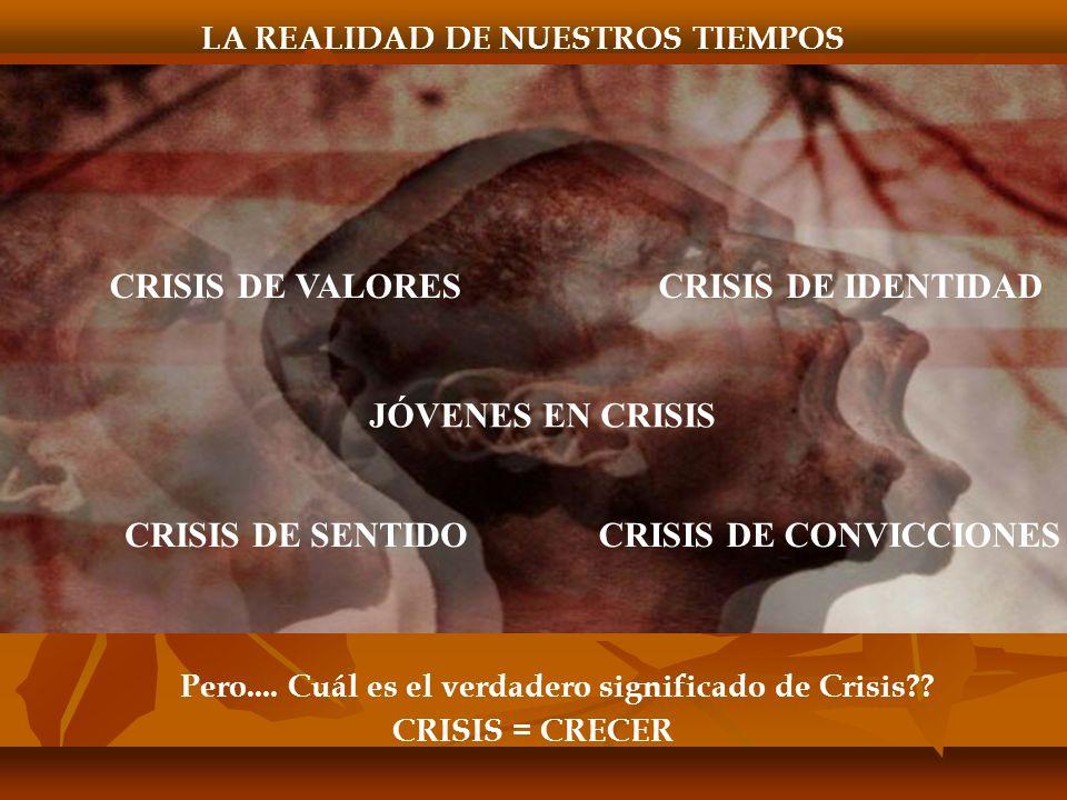 LA REALIDAD DE NUESTROS TIEMPOS JÓVENES EN CRISIS CRISIS DE VALORESCRISIS DE IDENTIDAD CRISIS DE SENTIDOCRISIS DE CONVICCIONES Pero....