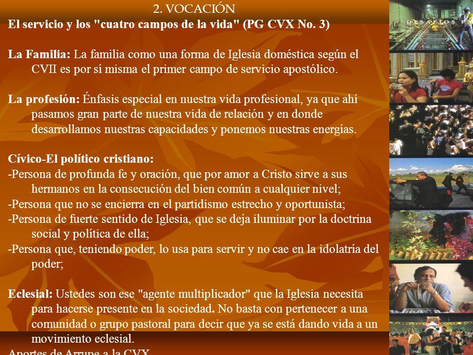2. VOCACIÓN El servicio y los cuatro campos de la vida (PG CVX No.