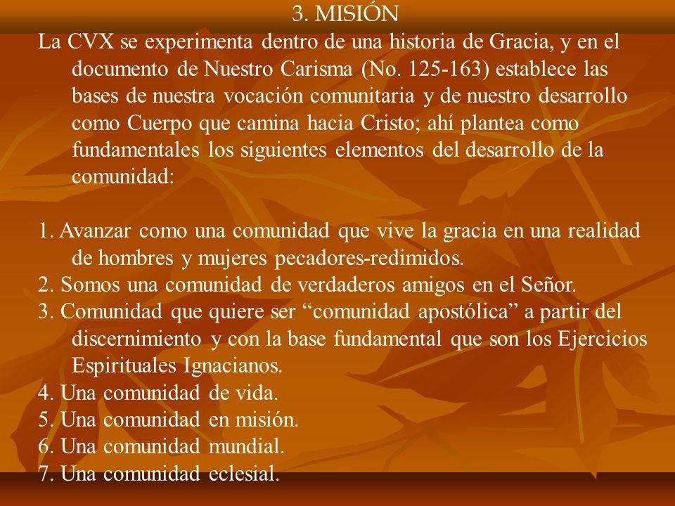 3. MISIÓN La CVX se experimenta dentro de una historia de Gracia, y en el documento de Nuestro Carisma (No. 125-163) establece las bases de nuestra vo