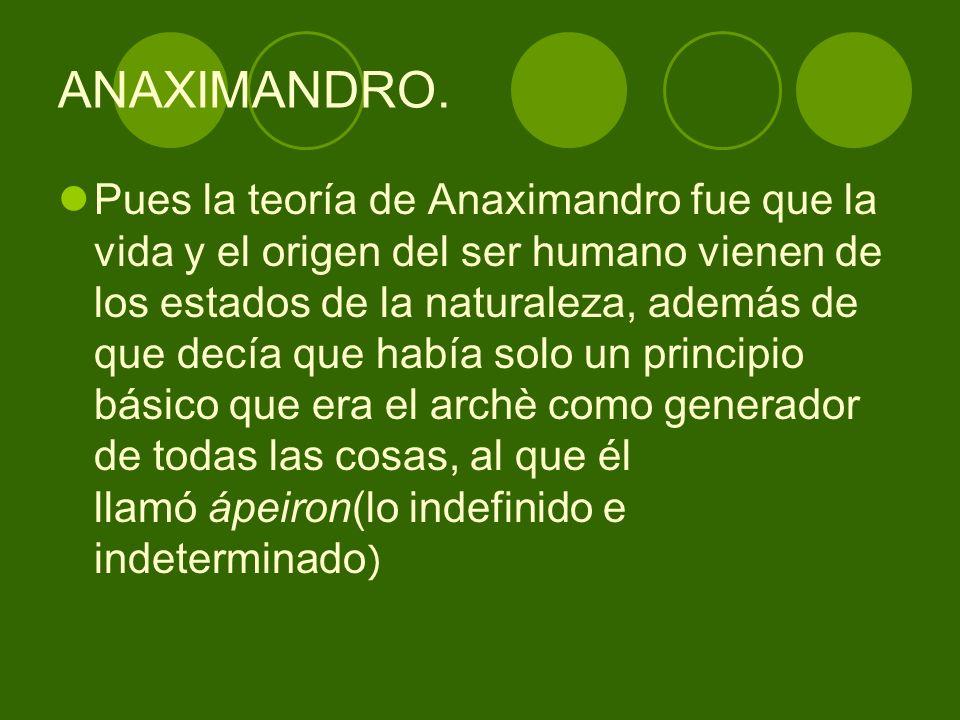 ANAXIMANDRO. Pues la teoría de Anaximandro fue que la vida y el origen del ser humano vienen de los estados de la naturaleza, además de que decía que