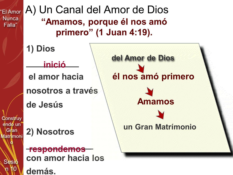 El Amor Nunca Falla Sesió n 10 Construy endo un Gran Matrímoni o A) Un Canal del Amor de Dios Amamos, porque él nos amó primero (1 Juan 4:19). 1) Dios