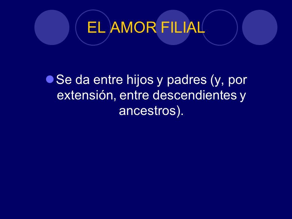 EL AMOR FILIAL Se da entre hijos y padres (y, por extensión, entre descendientes y ancestros).